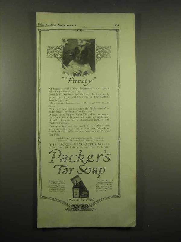 1917 Packer's Tar Soap Ad - Purity