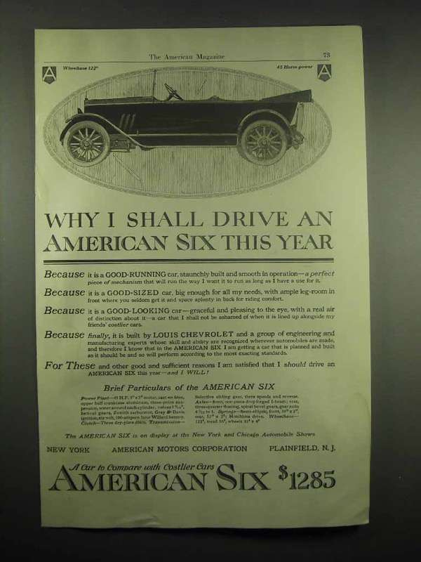 1917 American Six Car Ad - Why I Shall Drive This Year