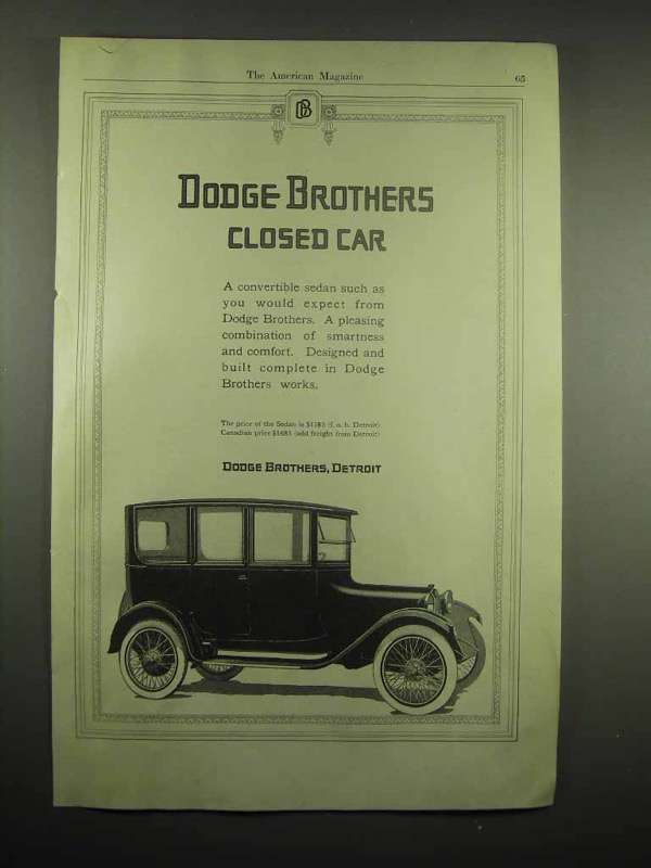 1917 Dodge Brothers Closed Car Ad