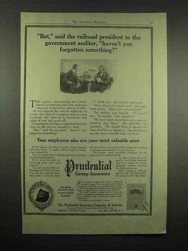 1917 Prudential Insurance Ad - Railroad President