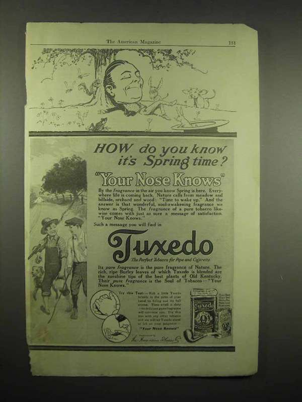 1917 Tuxedo Tobacco Ad - How Do You Know It's Spring