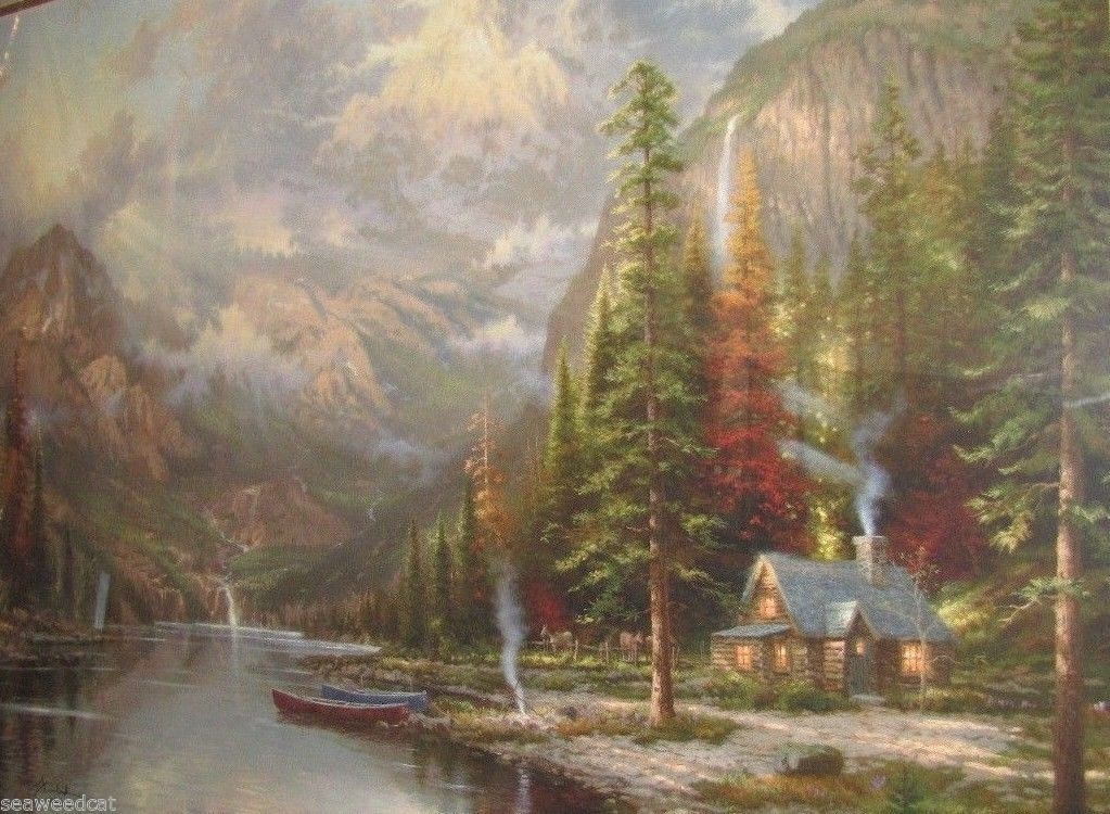 Mountain majesty by thomas kinkade offset and similar items for Mountain majesty