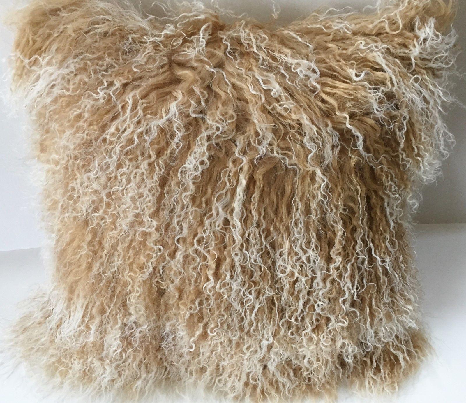 Mongolian Tibetan Lamb Fur Pillow Cushion Beige snow top 18x18