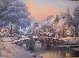 Thomas Kinkade Cobblestone Christmas Cobblestone Lane VI S/N Canvas Print - $795.00