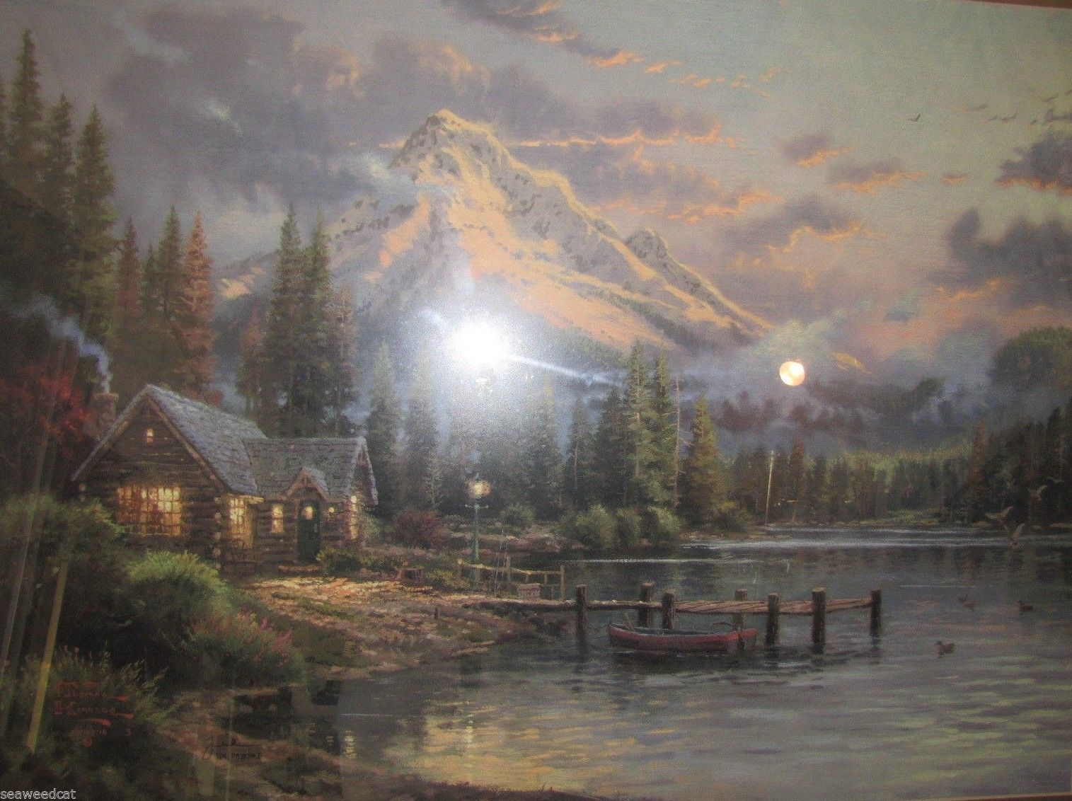 Thomas Kinkade Lakeside Hideaway 18x24 Low Number w/COA!! Absolutely Stunning!