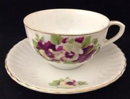 Vtg Nippon Yoko Boeki Tea Cup & Saucer Porcelain Purple White Pansies Gold Trim - $24.69