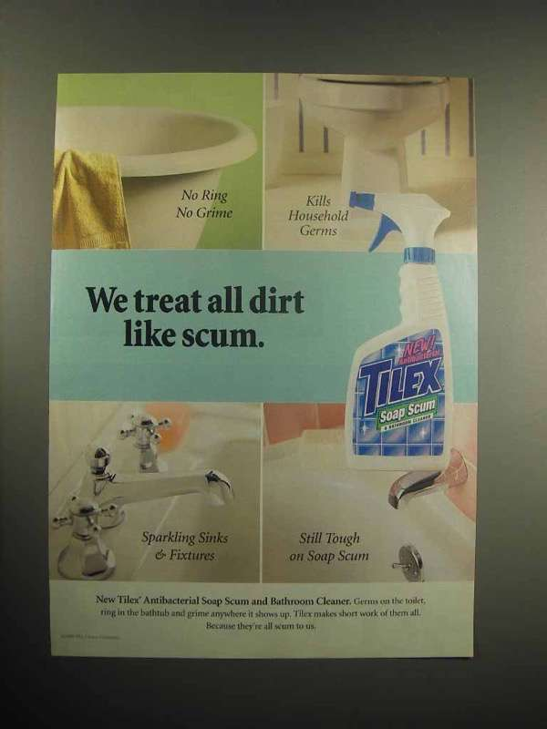 1999 Tilex Antibacterial Soap Scum, Bathroom Cleaner Ad