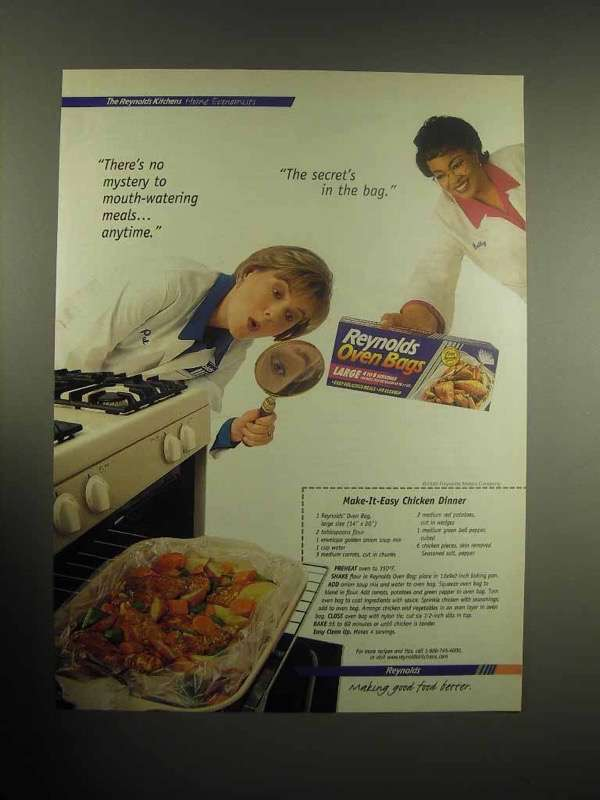 1999 Reynolds Oven Bags Ad - Make-it-Easy Chicken