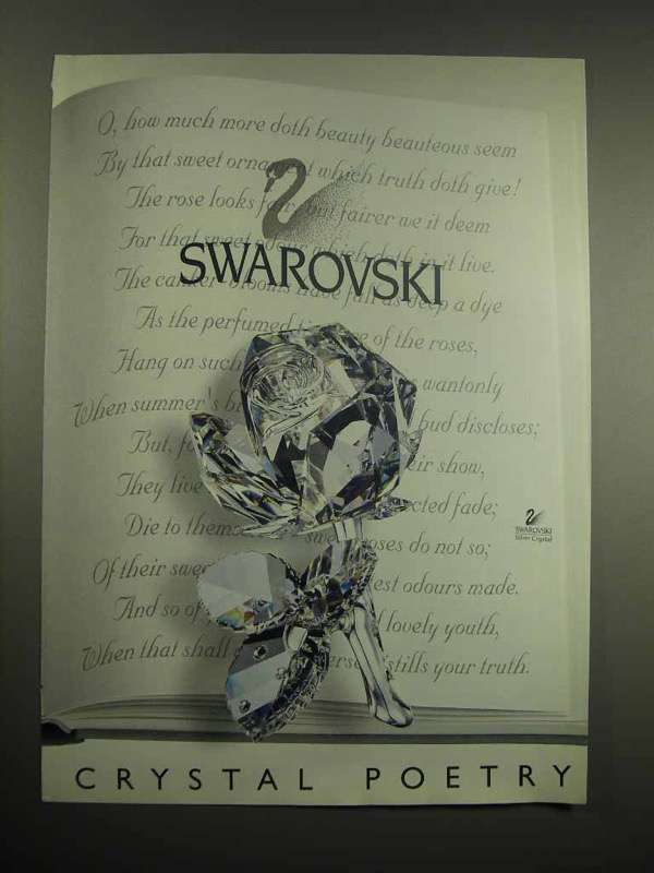 1997 Swarovski Crystal Rose Ad - Crystal Poetry