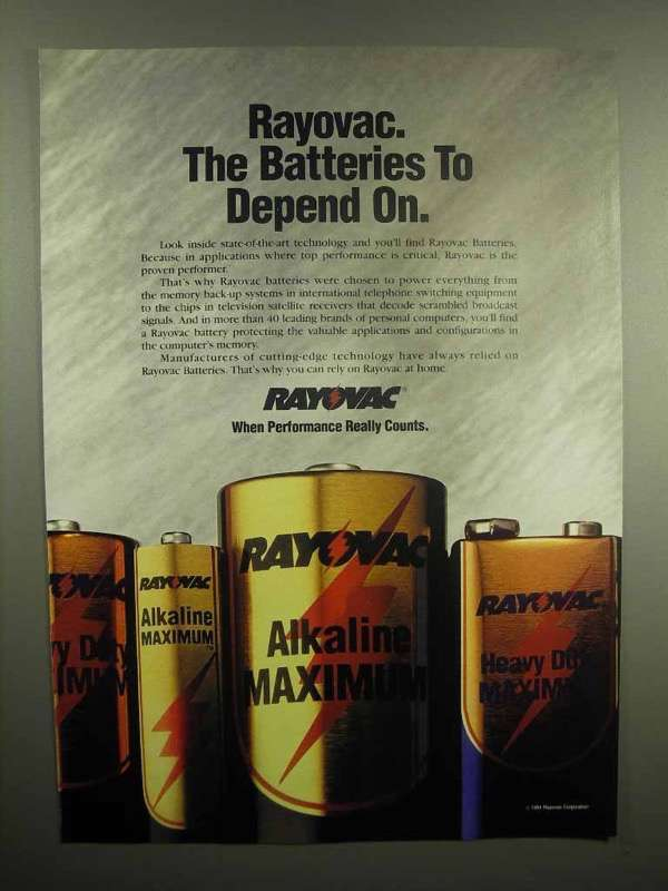 1992 Rayovac Battery Ad - Batteries to Depend On