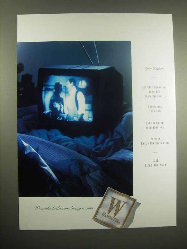 1996 Wamsutta Linen Ad - We Make Bedrooms Living Rooms