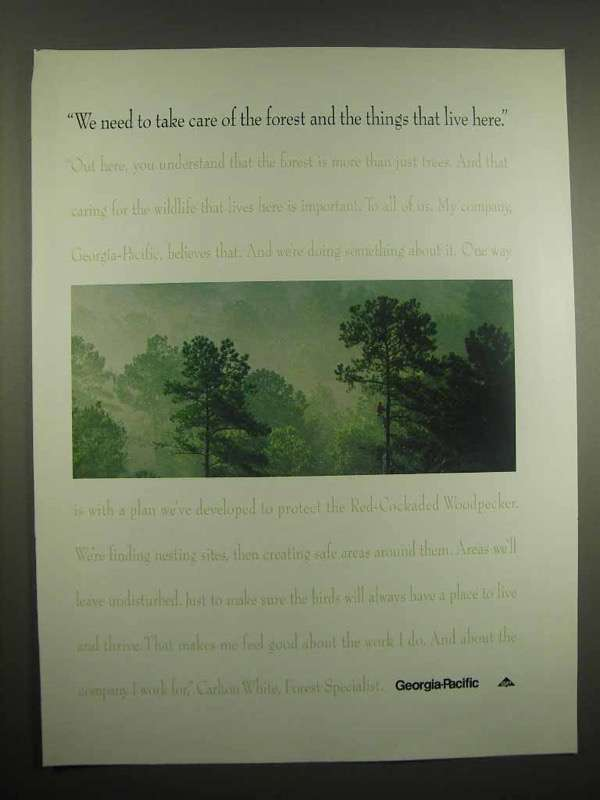 1994 Georgia-Pacific Ad - Take Care of Forest