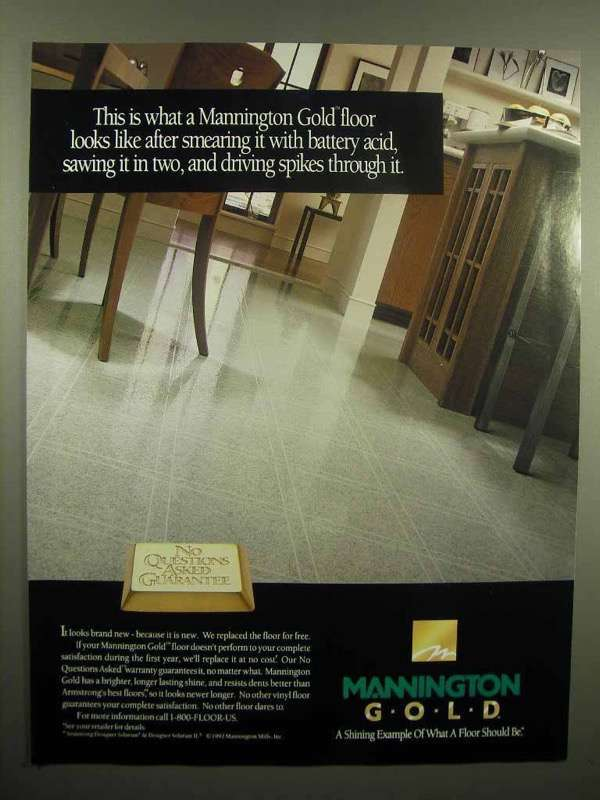 Primary image for 1992 Mannington Gold Floor Ad - Smearing With Acid