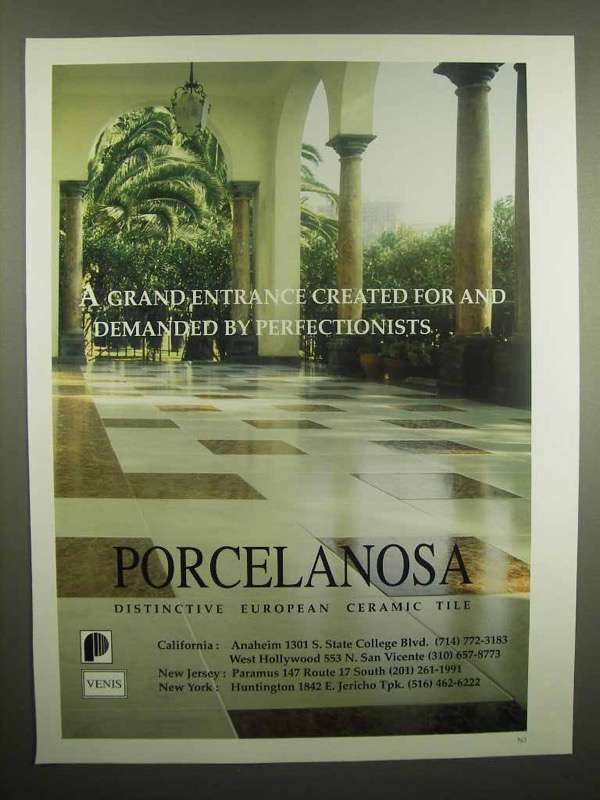 1992 Porcelanosa Ceramic Tile Ad - A Grand Entrance