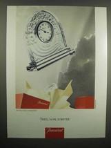 1992 Baccarat Crystal Art Deco Clock Ad - $14.99