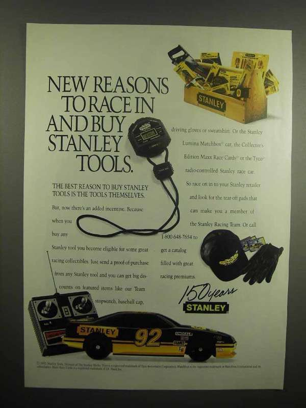 1992 Stanley Tools Ad - Reasons to Race In and Buy