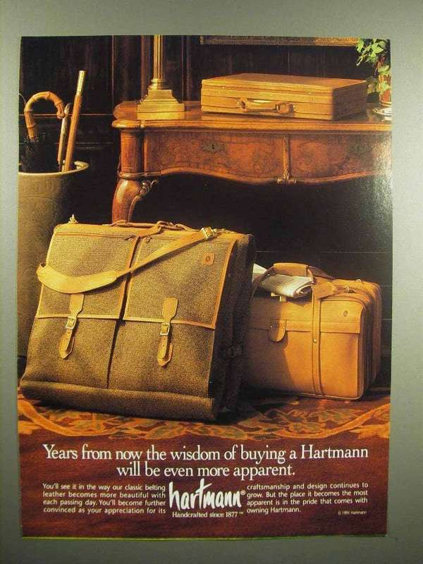 1992 Hartmann Luggage Ad - Wisdom More Apparent