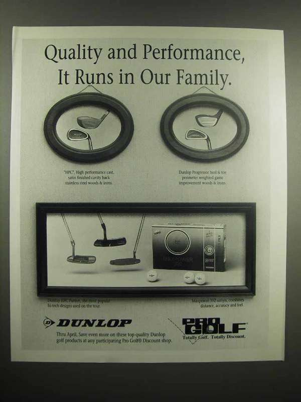 1991 Dunlop Pro Golf Ad - Quality and Performance