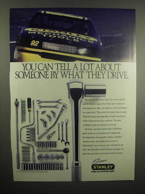 1992 Stanley Tools Ad - NASCAR #92