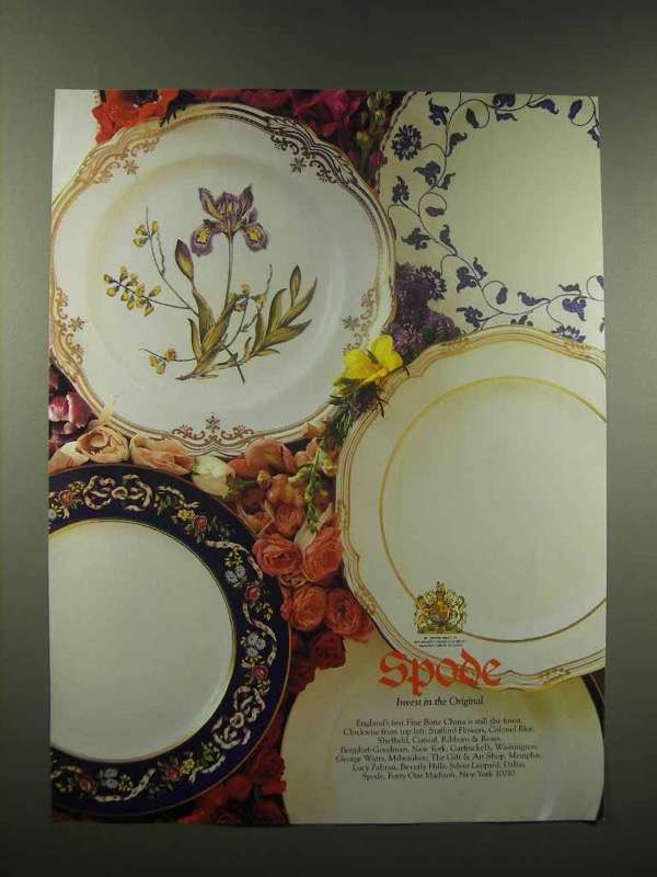 1990 Spode Bone China Ad - Ribbons & Roses, Sheffield