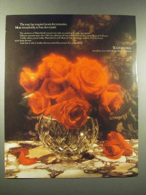1990 Waterford Crystal Vase Ad - The Rose Has Inspired