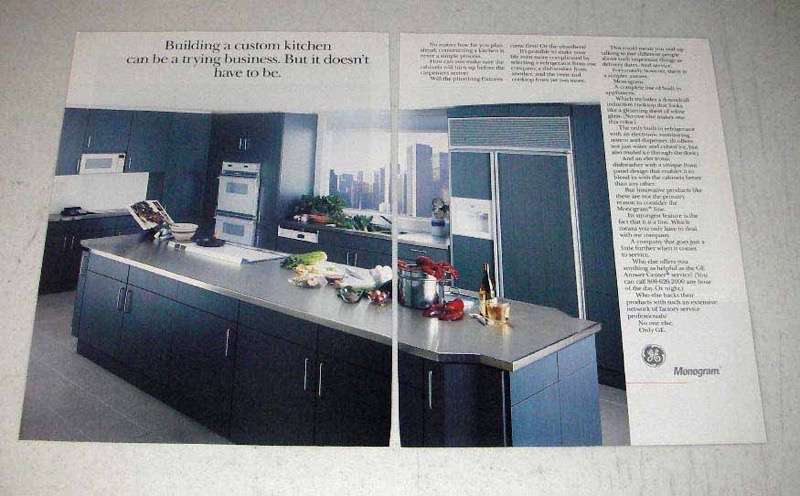 Primary image for 1990 GE Monogram Appliance Ad - A Custom Kitchen