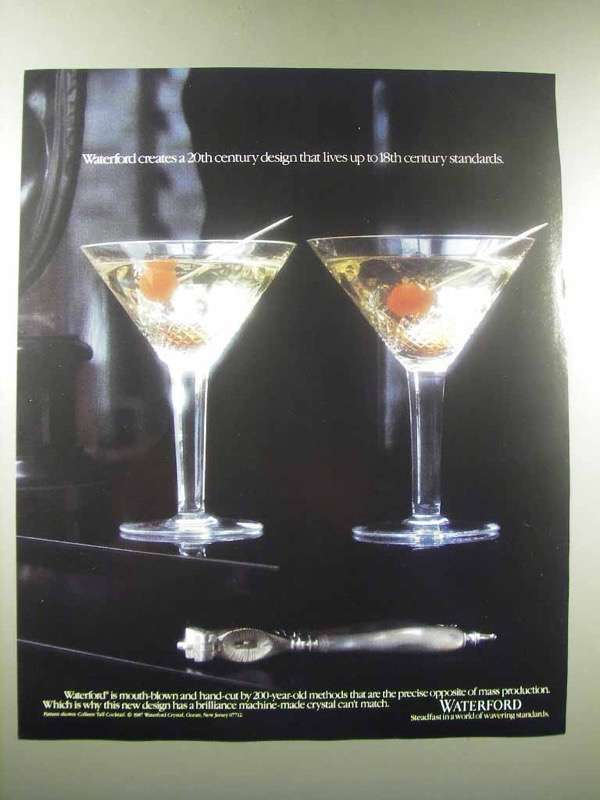 1990 Waterford Crystal Ad - Martini Glasses