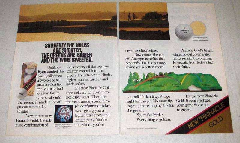 1988 New Pinnacle Gold Golf Ball Ad - Wins Sweeter