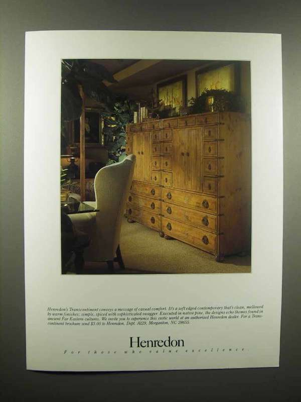 1989 Henredon Transcontinent Furniture Ad