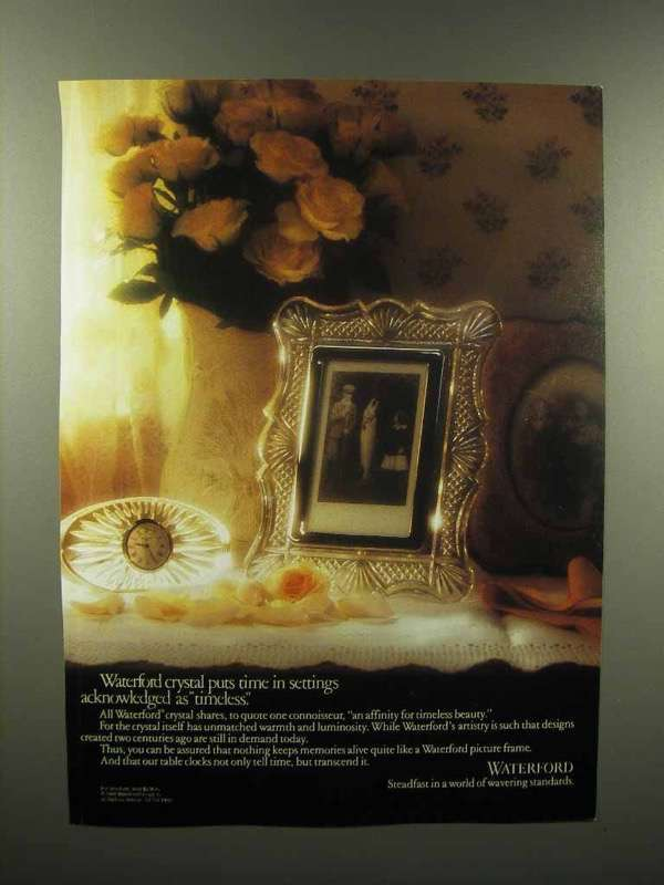 1989 Waterford Crystal Ad - Picture Frame, Table Clock