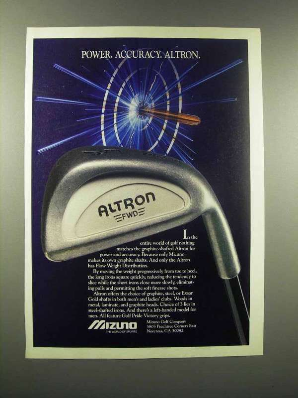 1988 Mizuno Altron Golf Club Ad - Power Accuracy
