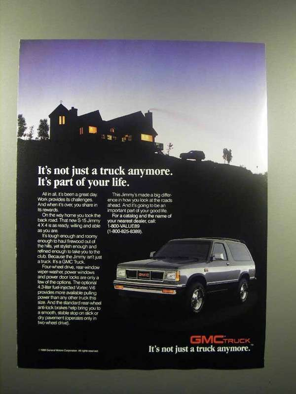1988 GMC S-15 Jimmy 4x4 Truck Ad - Part of Your Life