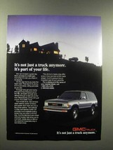 1988 GMC S-15 Jimmy 4x4 Truck Ad - Part of Your Life - $14.99