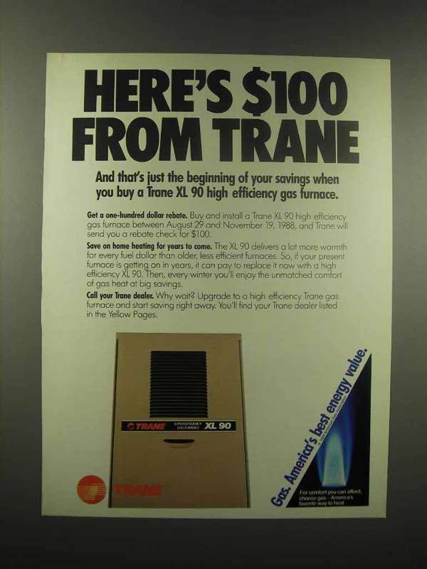 1988 Trane XL 90 High Efficiency Gas Furnace Ad