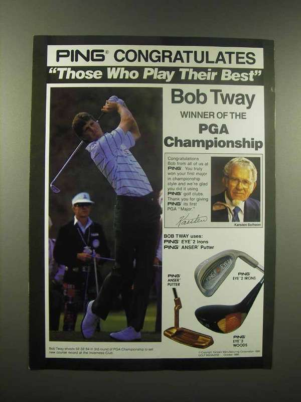 1988 Ping Golf Club Ad - Bob Tway - Anser Putter