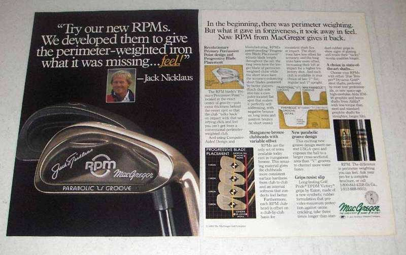 1988 MacGregor RPM Golf Club Ad - Jack Nicklaus