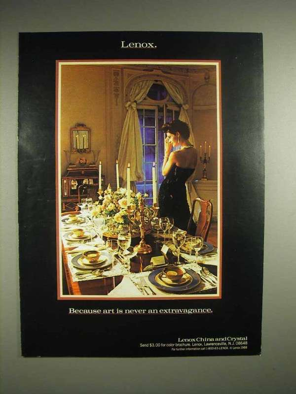1988 Lenox China & Crystal Ad - Never Extravagance