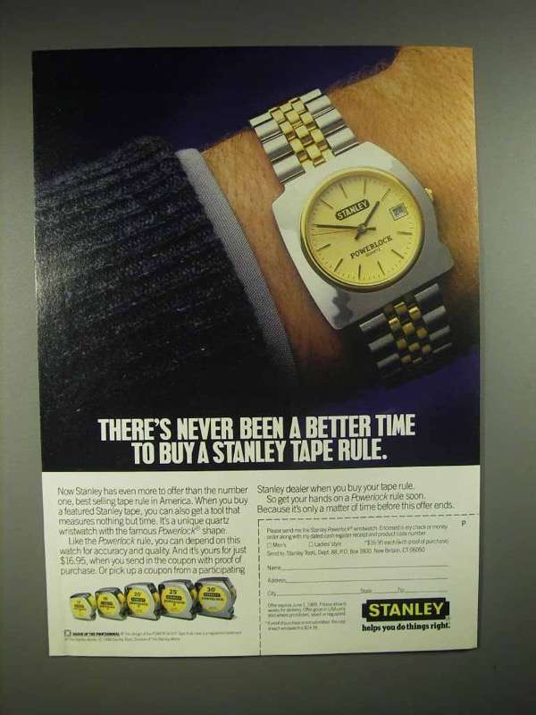 1988 Stanley Powerlock Tape Rule Ad - Never Better Time