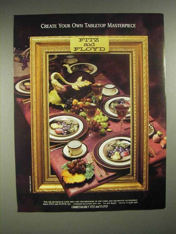 1988 Fitz and Floyd China Ad - Tabletop Masterpiece