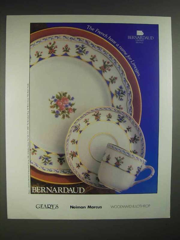 1988 Bernardaud Chateaubriand China Ad - Limoges