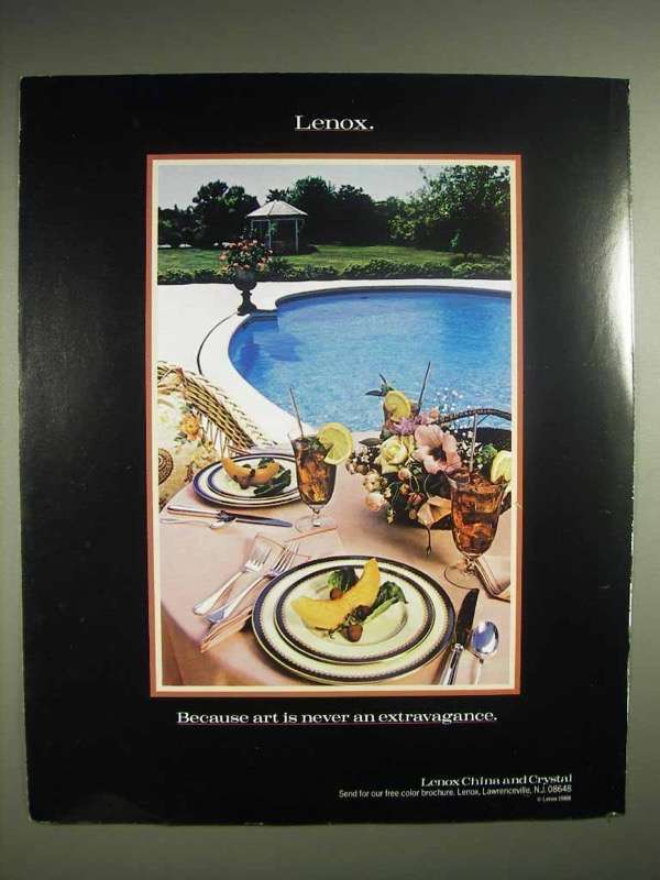 1988 Lenox China & Crystal Ad - Art is Never Extravagance