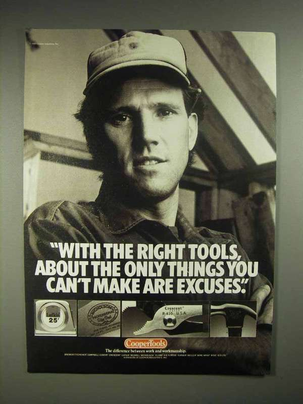 1988 CooperTools Tools Ad - Can't Make Excuses