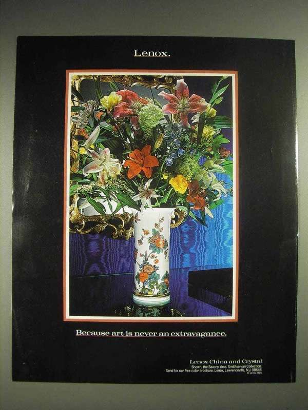 1987 Lenox China Ad - Art is Never an Extravagance