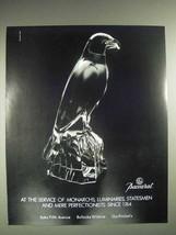 1987 Baccarat Crystal Bird Ad - Monarchs, Luminaries - $14.99