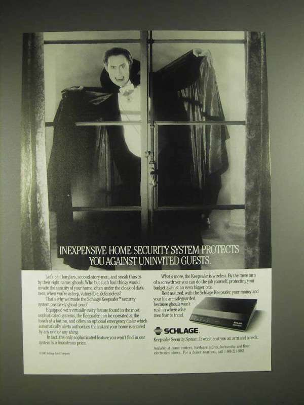 1987 Schlage Keepsafer Security System Ad - Vampire
