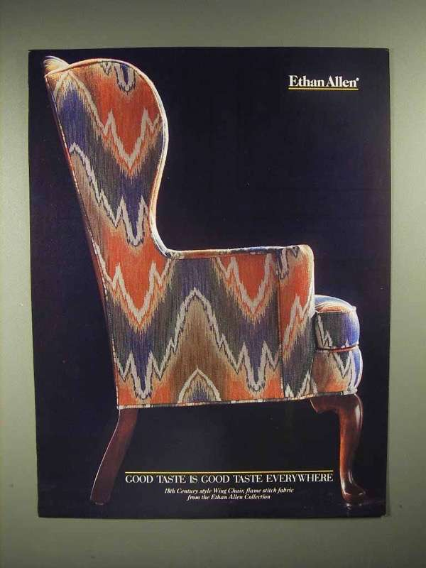 1986 Ethan Allen Wing Chair Ad - flame stitch fabric