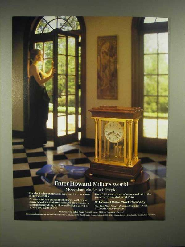 1986 Howard Miller John Penn Clock Ad - Enter