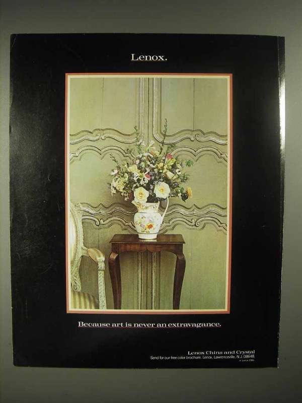 1986 Lenox China Ad - Art is Never an Extravagance