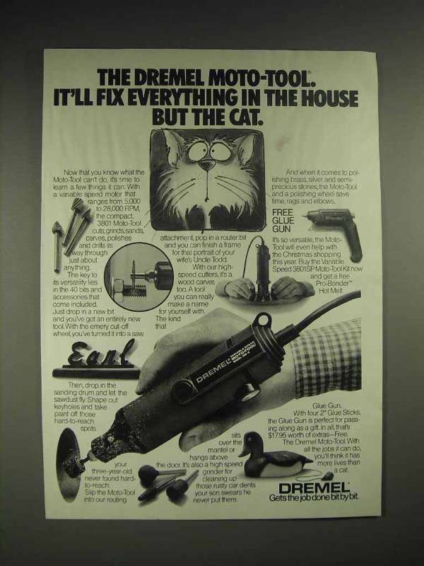 1985 Dremel Moto-Tool Ad - Fix Everything But the Cat