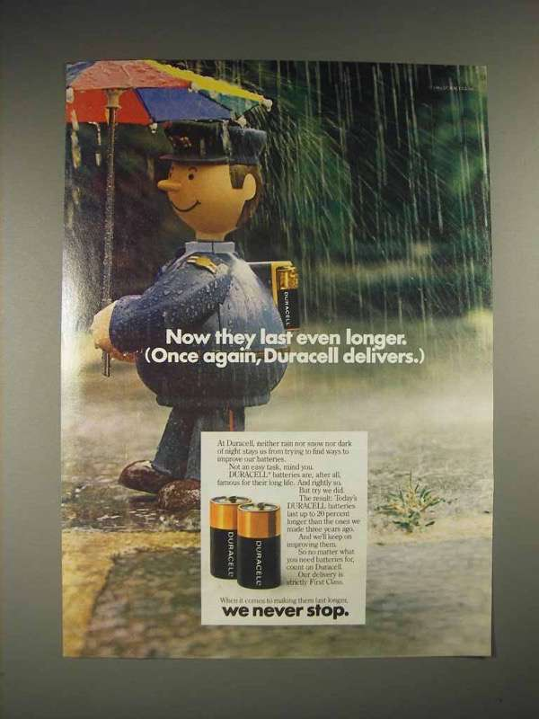 1985 Duracell Battery Ad - Once Again, Delivers